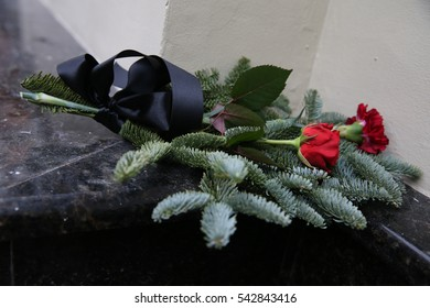 MOSCOW, RUSSIA - DECEMBER 25, 2016: Flowers near Alexandrov Hall, a rehearsal room of the Alexandrov Ensemble, in memory victims of a Russian Defense Ministry Tu-154 plane crash with 92 people.