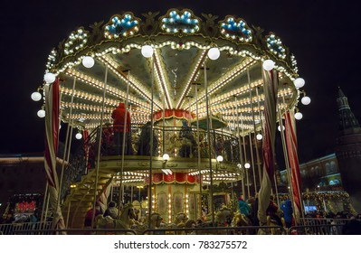 Moscow, Russia - December 25, 2017: Red Square. Night carousel in period Christmas ans New Year holidays