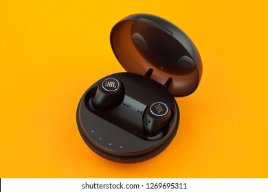 Moscow, Russia - December 25, 2018: Wireless Bluetooth headphones JBL Free X Black.