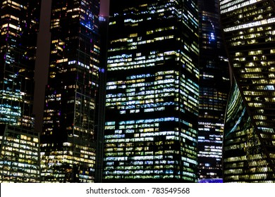 MOSCOW, RUSSIA - DECEMBER, 27, 2017: Skyscrapers of The Moscow International Business Center at night