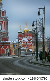 Moscow, Russia, December 27, 2018. View of Varvarka Street in the center of Moscow and Znamensky Cathedral