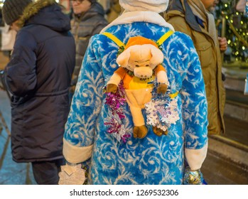 MOSCOW, RUSSIA - December 27, 2018: The Snow Maidens Parade on Tverskaya Street is part of the Journey to Christmas festival