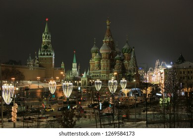Moscow, Russia, December 27, 2018. Beautiful night view of St. Basil's Cathedral, Spasskaya Tower of the Moscow Kremlin and Red Square
