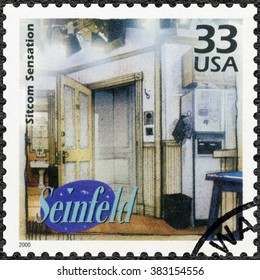 MOSCOW, RUSSIA - DECEMBER 28, 2015: A stamp printed in USA devote Seinfeld, television comedy, shows Sitcom Sensation, series Celebrate the Century, 1990s, circa 2000