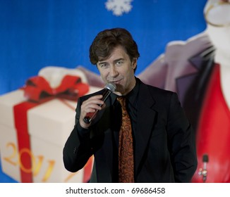 MOSCOW, RUSSIA - DECEMBER 28: Singer and actor Valery Syutkin on a concert on December 28, 2010 in Moscow, Russia. New Year's performance