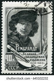 MOSCOW, RUSSIA - DECEMBER 29, 2016: A stamp printed in USSR shows Rembrandt (1606-1669), painter, 1956