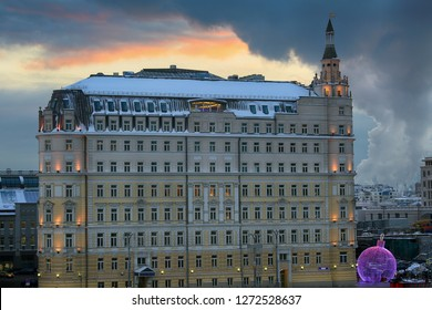 Moscow, Russia, December 29, 2018. The building of the Hotel Baltschug Kempinski at sunset