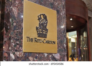 Moscow, Russia - December 30, 2016: Signboard of the Ritz-Carlton Hotel.