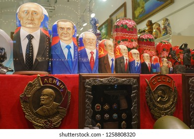 Moscow / Russia - December 7 2018: There is a large range of Matreshka-dolls (traditional Russian wooden toys) symbolizing the leading Russian or Soviet Union politicians