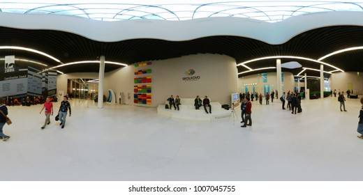 Moscow, Russia - December 8, 2017: People attend Crypto Space event at Skolkovo Campus. 360 VR panorama