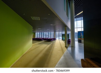 Moscow, Russia - December 8, 2017: Skolkovo Campus interior at day time. Skolkovo Innovation Center is a high technology business area that is being built at Skolkovo near Moscow, Russia
