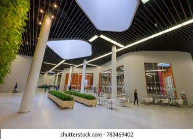 Moscow, Russia - December 8, 2017: People attend Skolkovo Campus. Skolkovo Innovation Center is a high technology business area that is being built at Skolkovo near Moscow, Russia