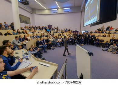 Moscow, Russia - December 8, 2017: People attend Crypto Space event at Skolkovo Campus