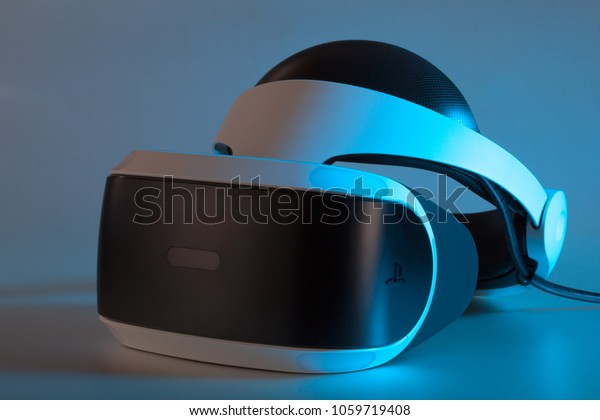 Moscow, Russia- December 9, 2017: VR for PlayStation 4. Helmet virtual reality.