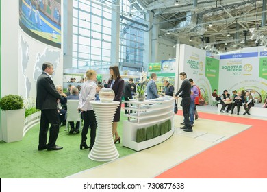 "Moscow, Russia, Expocenter VDNH - OCTOBER 4-7, 2017: Russian agro-industrial exhibition ""Golden autumn"". Business stand manufacturers agricultural products"