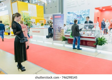 Moscow, Russia, Expocenter VDNH - OCTOBER 4-7, 2017: Russian agro industrial exhibition Golden autumn. Business stand- production company MIRATORG
