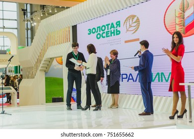 Moscow, Russia, Expocenter VDNH - OCTOBER 4-7, 2017: Russian agro industrial exhibition Golden autumn. Award winners on stage