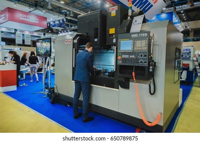 """MOSCOW, RUSSIA, Expocentre - MAY 15-19, 2017: 18th international specialized exhibition """"Equipment, instruments and tools for Metalworking industry"""". Metal cutting machines company KAMI."""