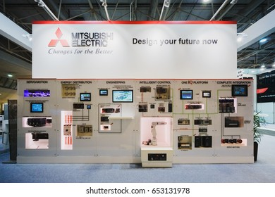 """MOSCOW, RUSSIA, Expocentre - MAY 15-19, 2017: 18th international specialized exhibition """"Equipment, instruments, tools Metalworking industry"""". Booth display company MITSUBISHI ELECTRIC."""