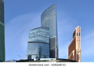 MOSCOW, RUSSIA - FEB 14, 2018: Moscow International Business Center (MIBC). Federation Towers, complex of two skyscrapers and Mercury City Tower