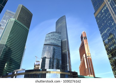 MOSCOW, RUSSIA - FEB 14, 2018: Moscow International Business Center (MIBC). Federation Towers, complex of two skyscrapers, Mercury City Tower and Eurasia Tower