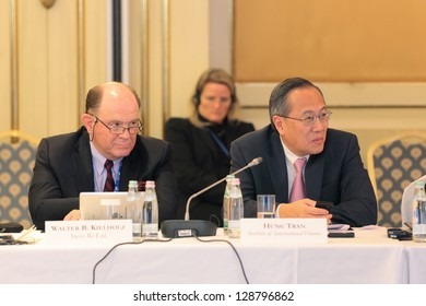 MOSCOW, RUSSIA - FEB 15: Walter Kielholz (Swiss Re) and Hung Tran (IIF) at G20 Finance Ministers and Central Bank Governors Deputies Meeting on February, 15, 2013 in Ritz-Carlton Hotel, Moscow, Russia