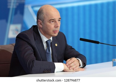 MOSCOW, RUSSIA - FEB 16: Anton Siluanov - Minister of Finance of the Russian Federation at a press-conference dedicated to the upcoming summit G20 on February, 16, 2013 in Moscow, Russia