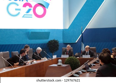 MOSCOW, RUSSIA - FEB 16: Christian Noyer and Pierre Moscovici at a press-conference dedicated to the upcoming summit G20 on February, 16, 2013 in Moscow, Russia