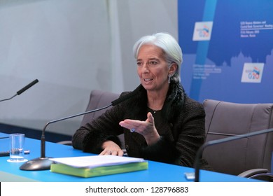 MOSCOW, RUSSIA- FEB 16: Christine Lagarde, Managing Director of the International Monetary Fund (IMF) at a press-conference dedicated to the upcoming summit G20 on February, 16, 2013 in Moscow, Russia