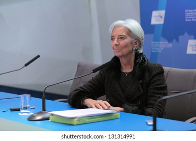 MOSCOW, RUSSIA - FEB 16: Christine Lagarde, Managing Director of the International Monetary Fund at a press-conference dedicated to the upcoming summit G20 on February, 16, 2013 in Moscow, Russia