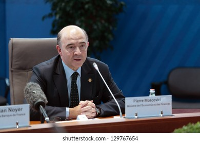 MOSCOW, RUSSIA - FEB 16: Pierre Moscovici - Minister of economy and Finance of France at a press-conference dedicated to the upcoming summit G20 on February, 16, 2013 in Moscow, Russia