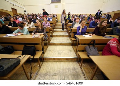 MOSCOW, RUSSIA - FEB 17, 2016: Students at lecture - Sciences in University of Moscow, Latest achievements. at Faculty of journalism in Lomonosov moscow state university