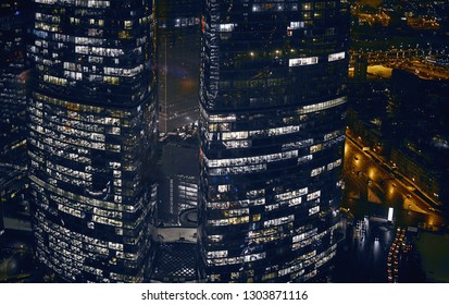 Moscow, Russia - Feb 2019: Aerial view from 50 level of Imperia Tower at business City center of Moscow. Presnenskaya Naberezhnaya, night time.
