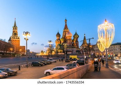 Moscow, Russia - Feb 21. 2020. Saint Basil Cathedral and Vasilevsky Descent of Red Square in Moscow Kremlin