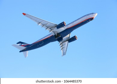 Moscow, Russia - FEB 23, 2018: The aeroplane of Aeroflot Russian Airlines (airbus a330, L. Yashin) in the sky