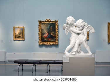 MOSCOW, RUSSIA - FEBR 28, 2016:Pushkin Museum of Fine Arts is largest museum of art. Room 22. French Art of first half of 18th century