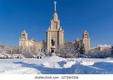 Moscow, Russia - Febriary 6, 2018: View of the monument to Mikhail Lomonosov and the main building of Moscow State University. Sunny day in February.