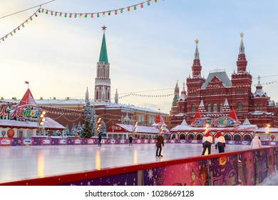 MOSCOW, RUSSIA, FEBRUARY 01, 2018: Ice skating rink on the Red Square near the walls of the Moscow Kremlin