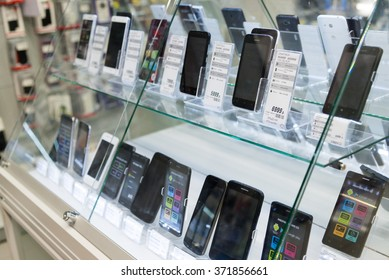 Moscow, Russia - February 02. 2016. Smartphones in storefront of Eldorado. large chain stores selling electronics