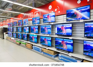 Moscow, Russia - February 02. 2016. TV in Eldorado is large chain stores selling electronics