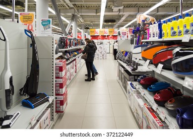 Moscow, Russia - February 02, 2016: Inside the Eldorado store, Russia's largest retailer of consumer electronics and household appliances.