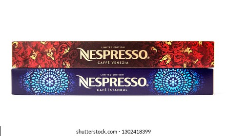 MOSCOW, RUSSIA - FEBRUARY 02, 2019: Limited Collection Nespresso Coffee Houses Limited Edition. Blend Caffe Venezia and Cafe Istanbul. Nespresso is Worldwide Company of Coffee Products.