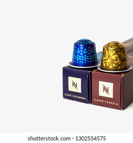 MOSCOW, RUSSIA - FEBRUARY 02, 2019: Limited Collection Nespresso Coffee Houses Limited Edition. Blend Cafe Istanbul and Caffe Venezia. Nespresso is Worldwide Company of Coffee Products.