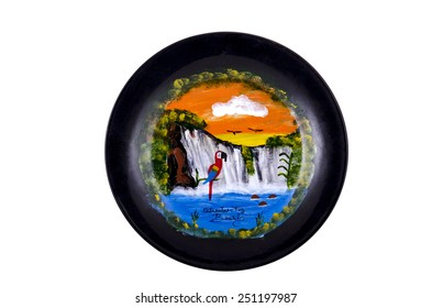 MOSCOW, RUSSIA - FEBRUARY 06, 2015: Isolated souvenir plate depicting the sights of Brazil