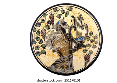 MOSCOW, RUSSIA - FEBRUARY 06, 2015: Isolated souvenir plate depicting the sights of Greece