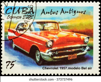 "MOSCOW, RUSSIA - FEBRUARY 08, 2016: A stamp printed in Cuba shows old car Chevrolet Bel Air (1957), series ""Classic Cars"", circa 2002"