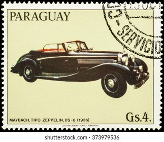 """MOSCOW, RUSSIA - FEBRUARY 08, 2016: A stamp printed in Paraguay shows old car Maybach Zeppelin DS-8 (1936), series """"Maybach Automobiles"""", circa 1986"""