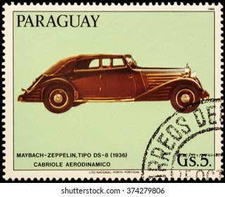 """MOSCOW, RUSSIA - FEBRUARY 08, 2016: A stamp printed in Paraguay shows old car Maybach Zeppelin, DS-8, Stromlinien-Cabriolet (1936), series """"Maybach Automobiles"""", circa 1986"""