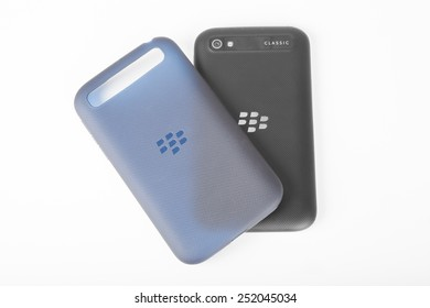 Moscow, Russia - February 1, 2015: BlackBerry Classic back and phone case isolated. It was released on December 17, 2014.