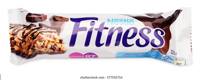 MOSCOW, RUSSIA - FEBRUARY 1, 2017: Top view of Nestle Fitness (dark chocolate flavor) wholegrain cereal bar isolated on white  with clipping path. Fitness bar made by Nestle and Cereal Partners.
